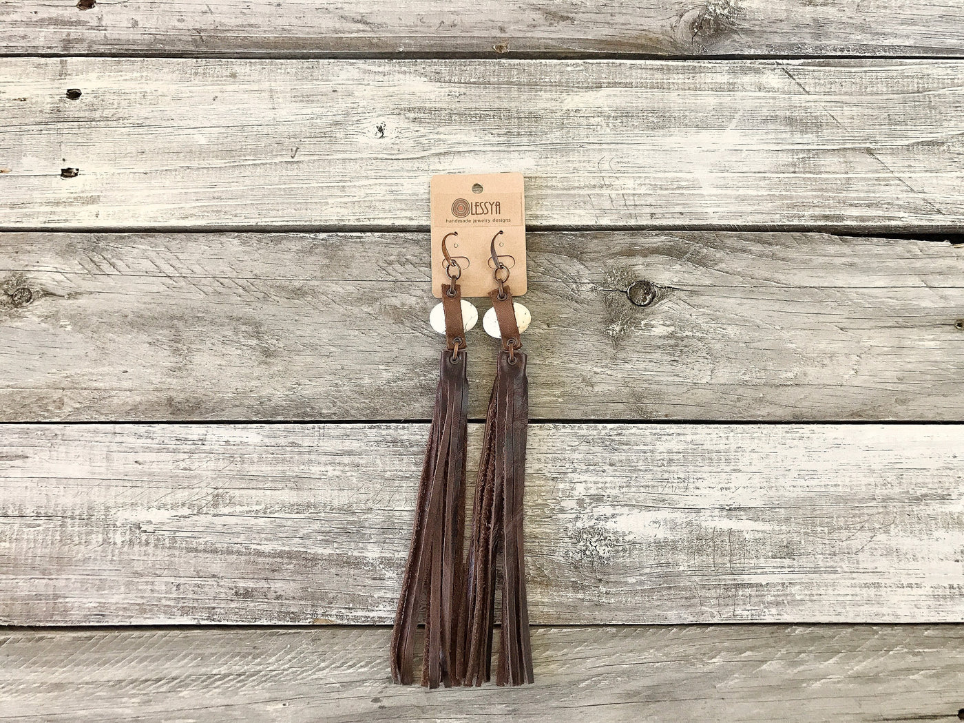 Boho Long Leather Fringe Tribal Native Earrings