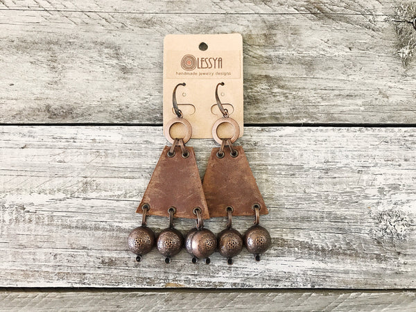 Boho Gypsy Triangle Leather Statement Rustic Earrings