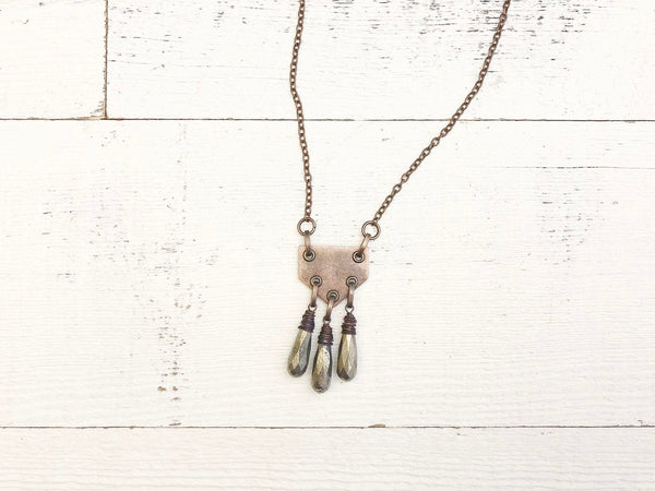 Bohemian Teardrop Pyrite Copper Gypsy Geometric Necklace