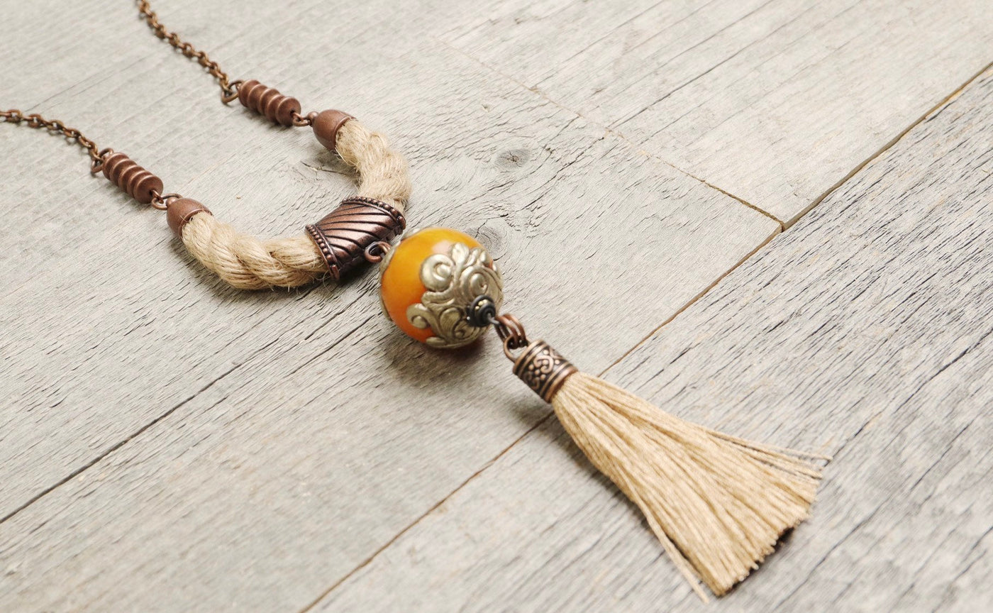 Ethnic Amber Boho Gypsy Rope Tassel Necklace