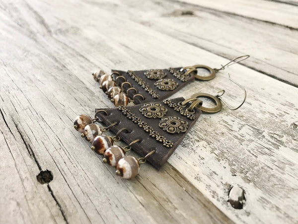 Leather Ethnic Triangle Agate Boho Gypsy Earrings