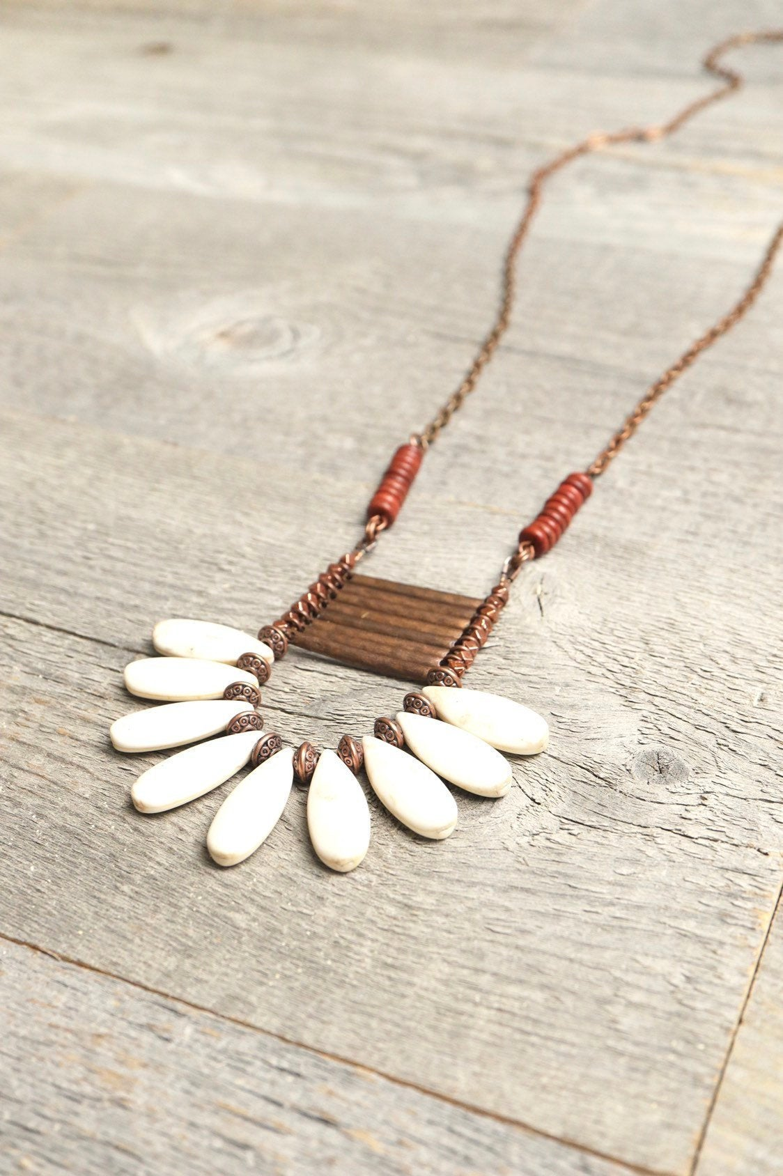 White Teardrop Stone Boho Gypsy Tribal Ethnic Necklace