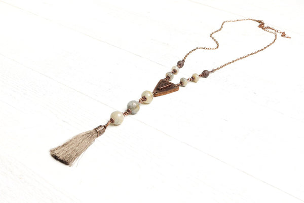 Labradorite Leather Tassel Long Ethnic Necklace