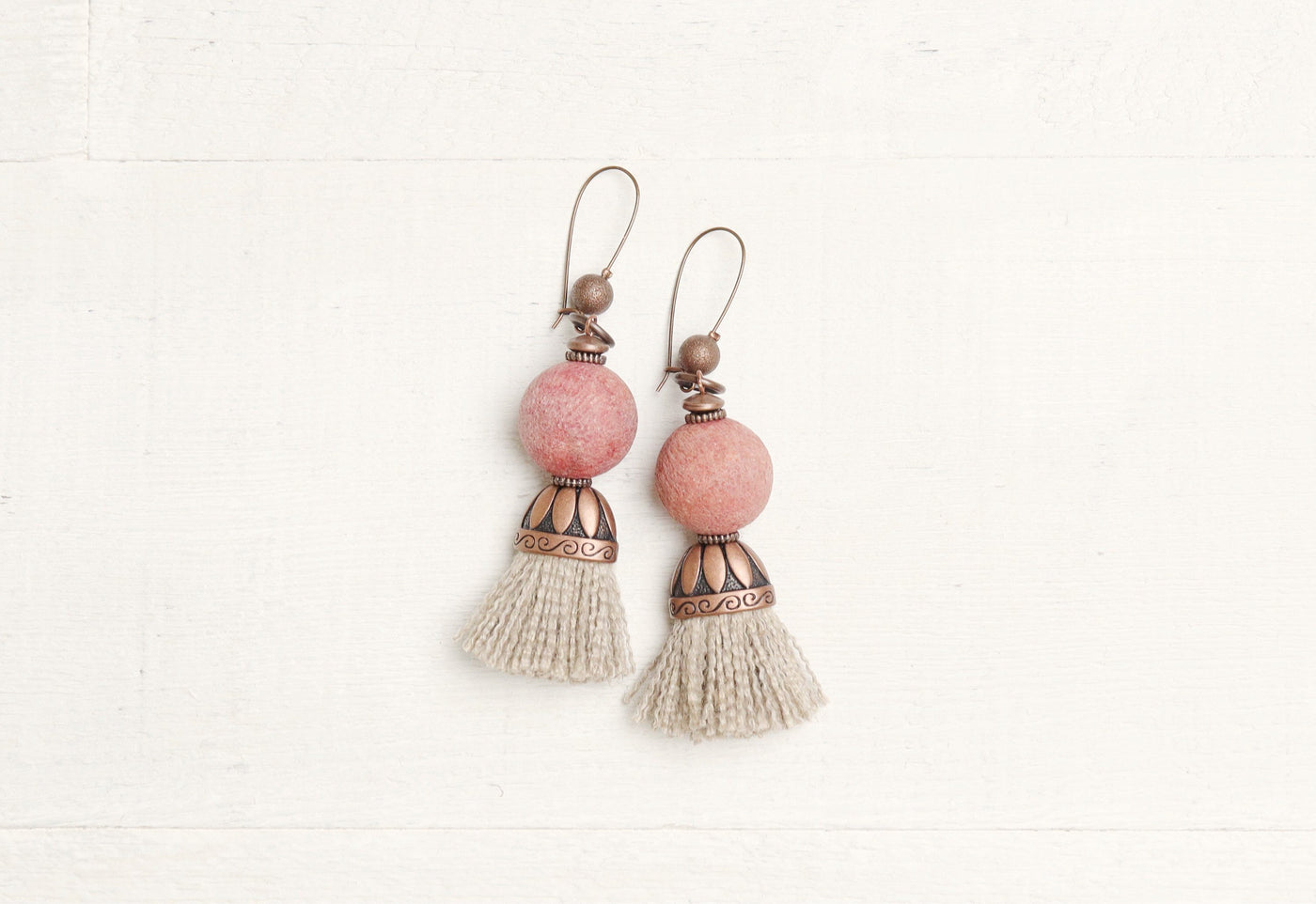 Coral Pink Tassel Rustic Boho Gypsy Ethnic Earrings