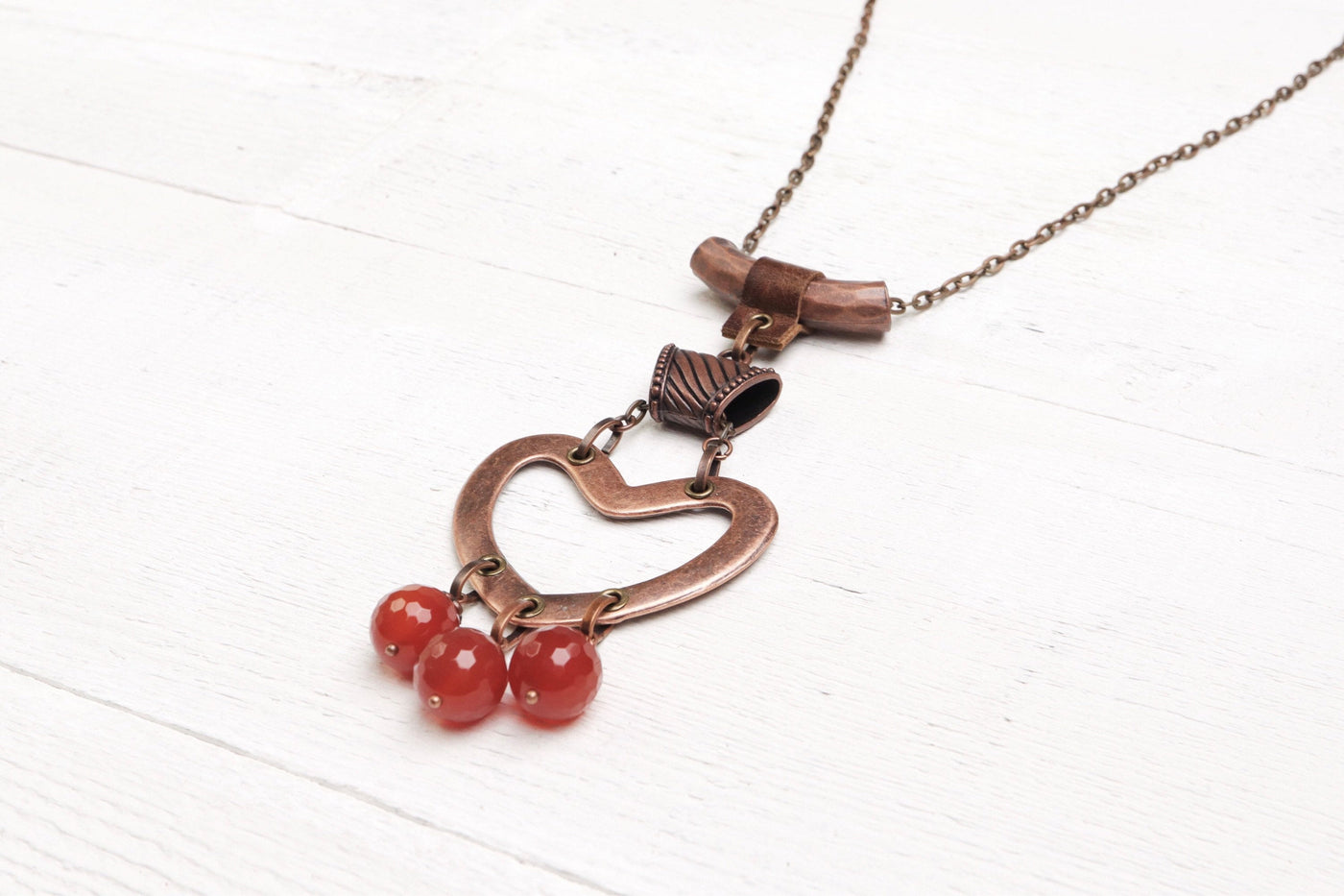 Agate Heart Boho Necklace - Long Carnelian Gypsy Bohemian Handmade Stone Pendant Valentine's Day Mother Wife Love Lover Gift For Her Jewelry