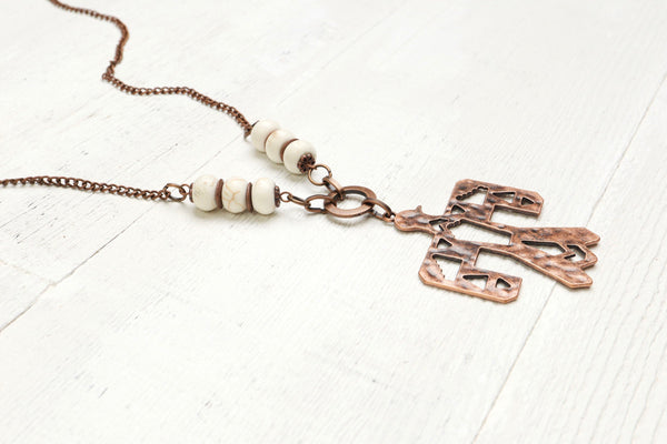Thunderbird Tribal White Stone Boho Gypsy Statement Necklace - Long Native American Indian Ethnic Bohemian Symbol Unisex Copper Pendant