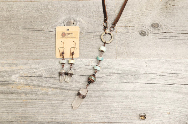 Amazonite Quartz Crystal Agate Boho Gypsy Leather Necklace - Long Tribal Bohemian Aqua Blue Earring Set Copper Wired Statement Earthy Women