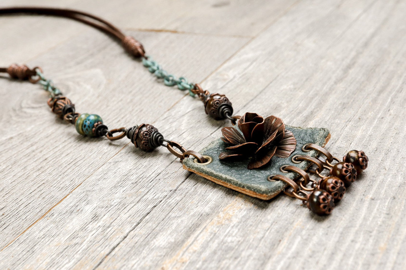 Flower Leather Boho Necklace - Gray Blue Gypsy Bronzite Stone Eclectic Hippie Distressed Gemstone Statement Bohemian Rustic Handmade Jewelry