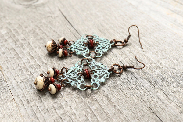 Patina Filigree Blue Earrings - Antique Turquoise White Lovely Dangle Boho Gypsy Hippie Unique Statement Bohemian Rustic Handmade Jewelry