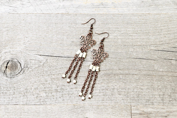 Fleur de Lis Filigree Chain Earrings, White Iris Lily Light Antique Boho French Louisiana Symbol Long Gypsy Ethnic Bohemian Handmade Jewelry