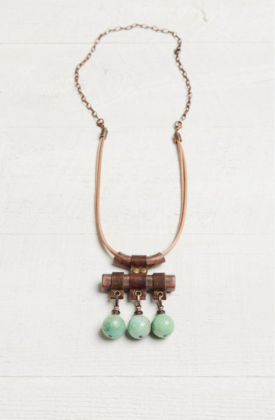 Agate Tube Metal Leather Boho Gypsy Necklace
