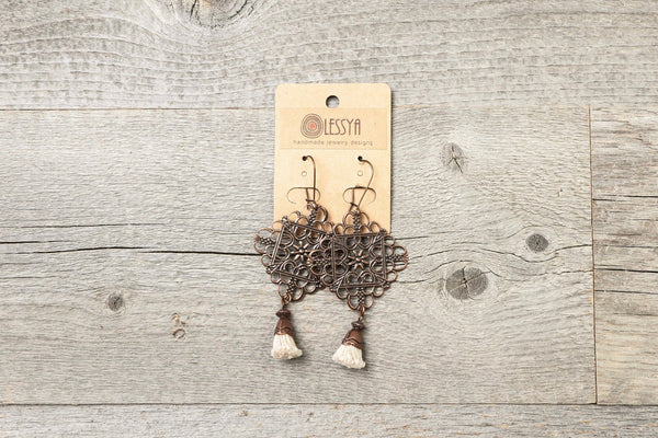 Square Filigree Tassel Earrings - Light Antique Copper Dangle Boho Gypsy Coptic Egyptian Ethiopian Cross Ethnic Bohemian Handmade Jewelry