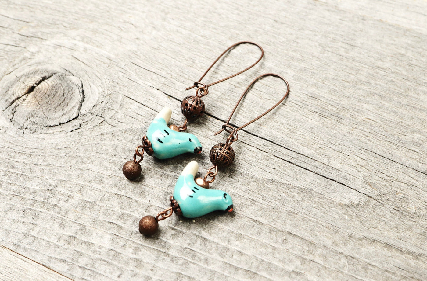 Blue Bird Cute Ceramic Boho Earrings - Aquamarine Lovely Valentine's Day Gift Playful Quirky Fun Unique Adorable Simple Handmade Jewelry