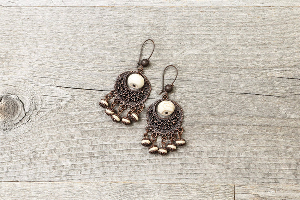 Boho Filigree White Stone Earrings - Ethnic Tibetan Antique Gypsy Vintage Hippie Cute Lovely Dangle Bohemian Rustic Handmade Jewelry Gift