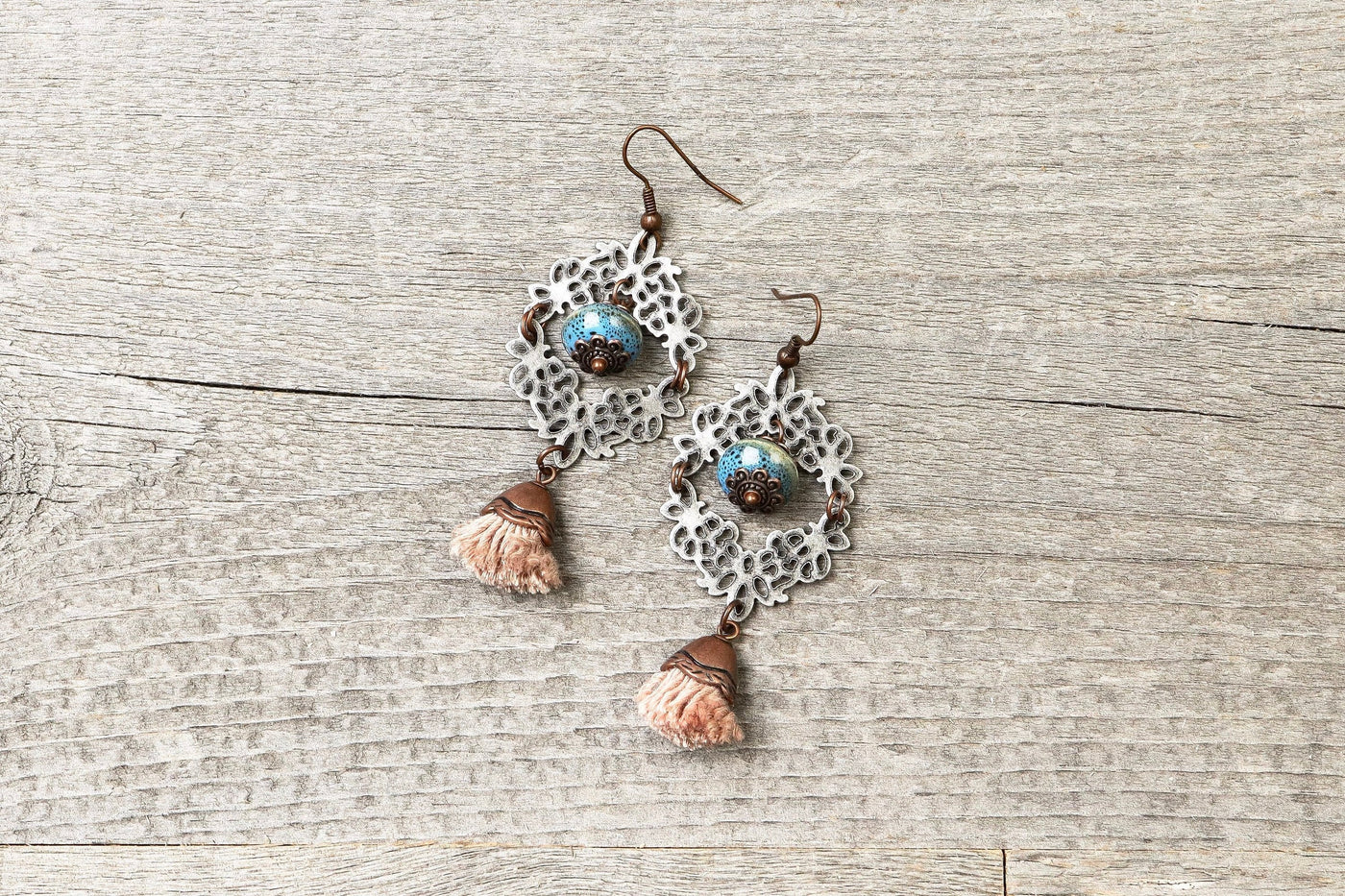 Filigree Tassel Blue Earrings - Antique Silver Ceramic Earthy Dangle Boho Gypsy Hippie Unique Statement Bohemian Rustic Handmade Jewelry