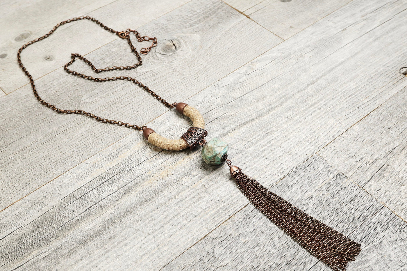Jasper Rope Chain Tassel Boho Necklace - Long Gypsy Hippie Unique Ethnic Blue Geometric Gemstone Statement Tribal Bohemian Rustic Jewelry