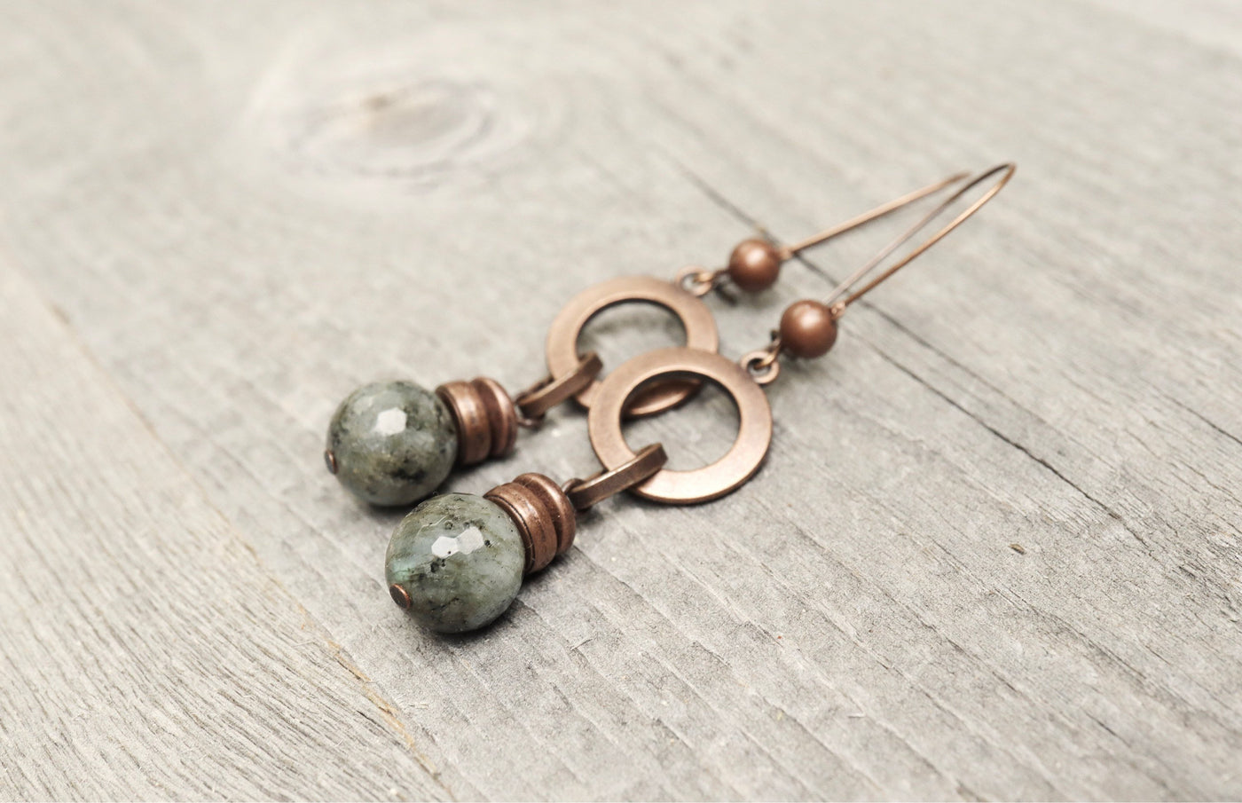 Labradorite Copper Gray Natural Stone Loop Ring Boho Gypsy Earrings - Simple Earthy Handmade Circle Metal Round Bohemian Rustic Jewelry