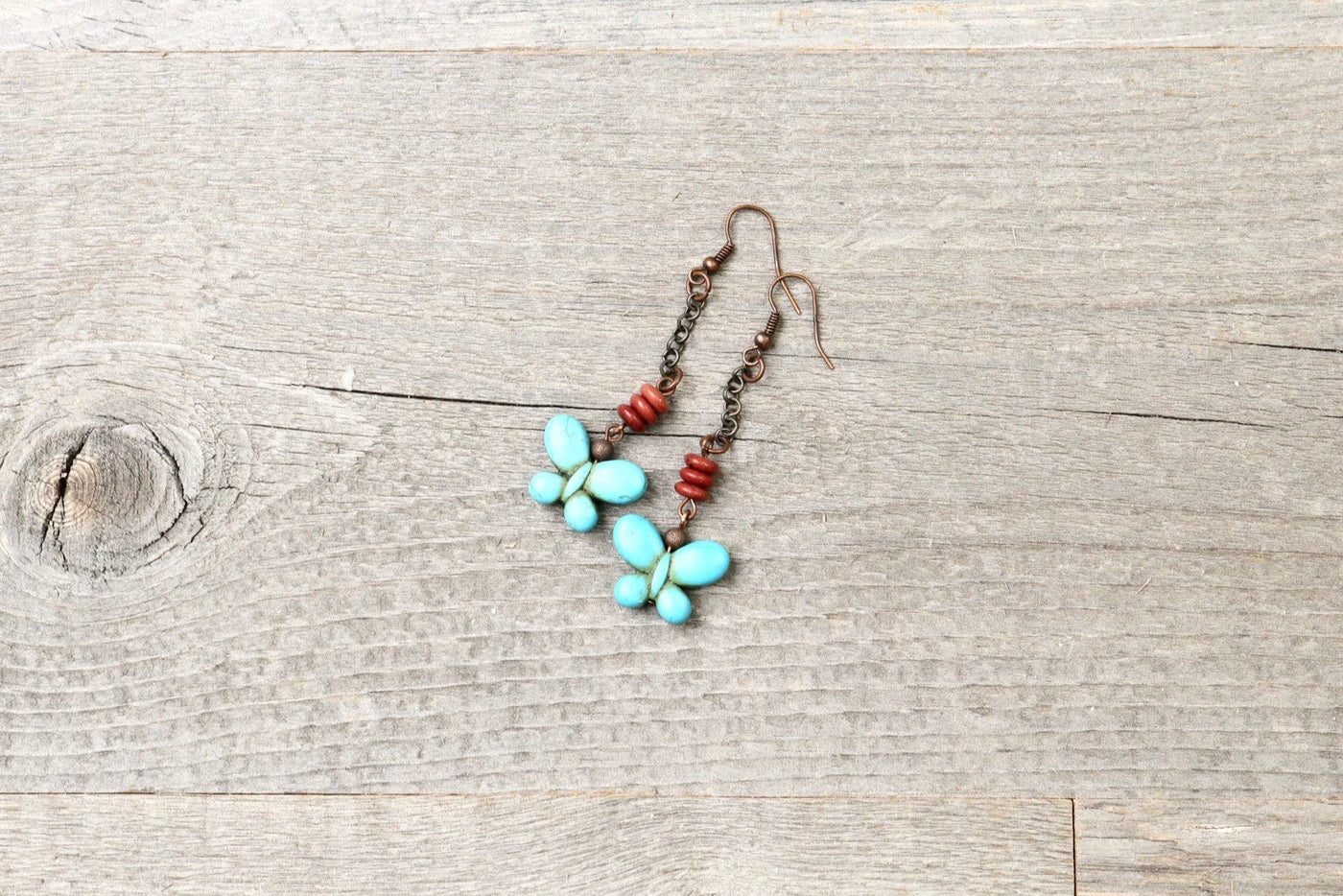 Turquoise Blue Stone Butterfly Boho Earrings - Cute Lovely Elegant Bohemian Valentine's Day Gift for Her Unique Lover Long Dangle Jewelry