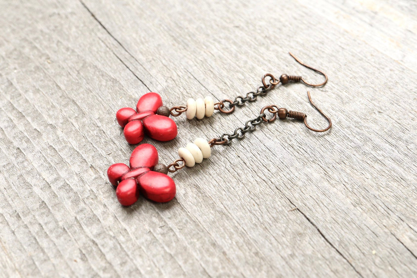 Red Butterfly Stone Boho Earrings - White Cute Lovely Elegant Bohemian Valentine's Day Gift for Her Rustic Unique Lover Long Dangle Jewelry