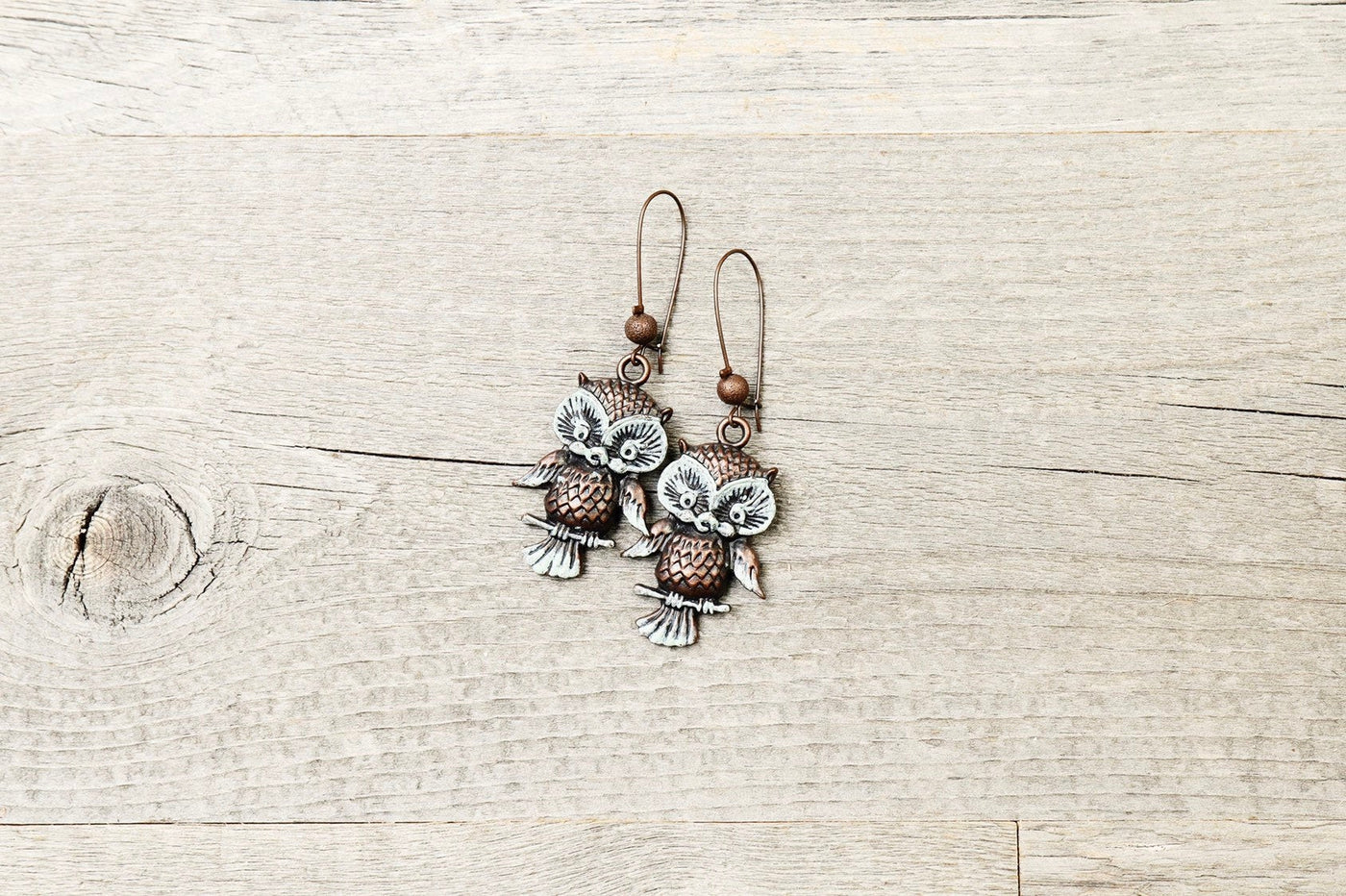 Blue Patina Owl Boho Earrings - Antique Metal Bird Cute Lovely Quirky Dangle Gypsy Hippie Unique Statement Bohemian Rustic Handmade Jewelry
