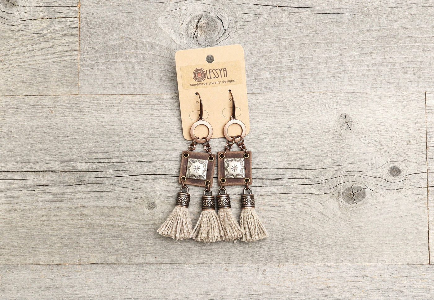 Viking Tribal Ethnic Tassel Leather Earrings - Native Rustic Hippie Unique Eclectic Boho Gypsy Metal Vintage Bohemian Handmade Jewelry Set