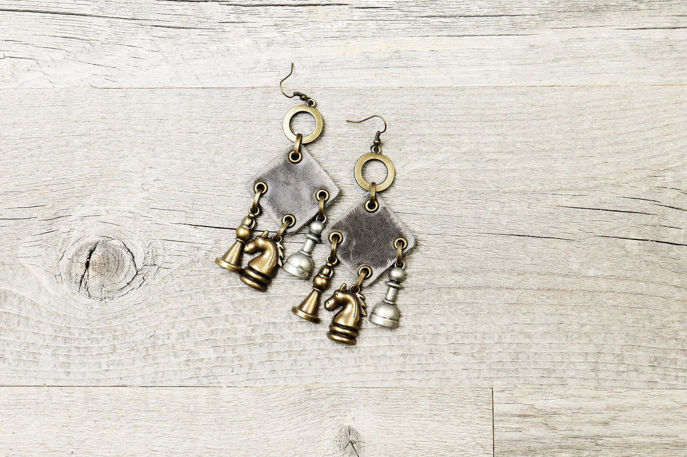 Chess Piece Leather Boho Earrings - Knight Bishop Pawn Horse Game Statement Gray Smart Gift for Her Square Unique Bohemian Handmade Jewelry