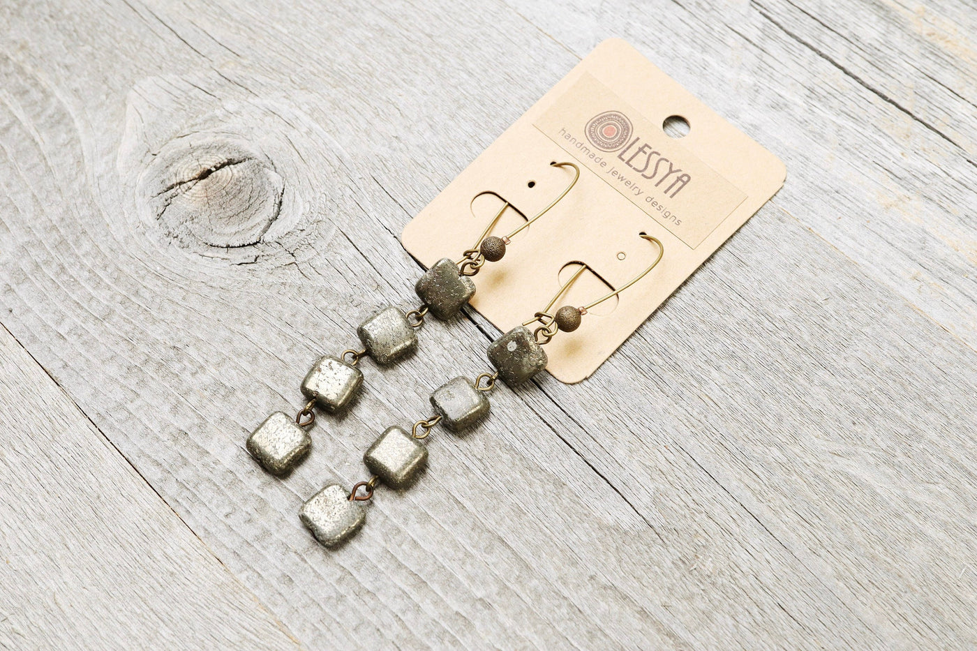 Square Pyrite Boho Earrings, Long Stone Cute Lovely Playful Chic Elegant Gypsy Hippie Earthy Rustic Gemstone Jewelry Set Mother Gift for Her
