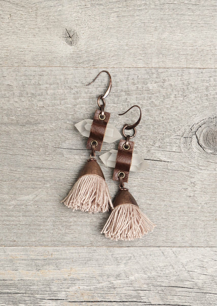 Quartz Leather Tassel Earrings, Big Crystal Spike Boho Gypsy Tribal Ethnic Hippie Unique Gemstone Statement Bohemian Rustic Handmade Jewelry