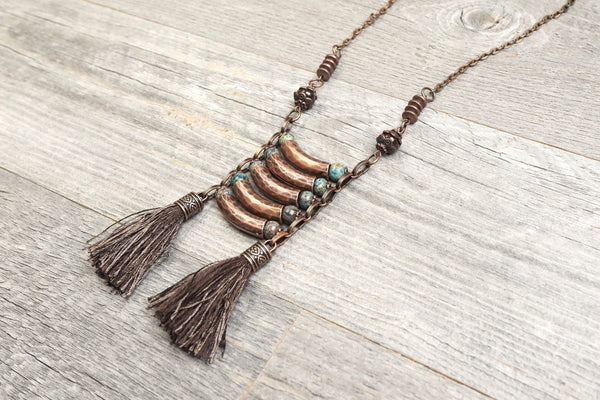 Jasper Tube Tassel Boho Necklace - Blue Gypsy Copper Hippie Tribal Ethnic Long Unique Gemstone Statement Bohemian Layered Handmade Jewelry