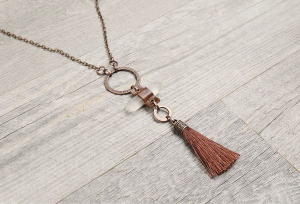 Quartz Crystal Leather Tassel Boho Necklace - Long Gypsy Spike Pendant Hippie Unique Gemstone Statement Bohemian Rustic Handmade Jewelry Set