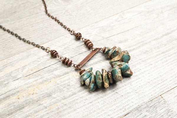 Variscite Green Boho Necklace - Long Gypsy Stone Cute Loop Pendant Hippie Unique Lovely Gemstone Statement Bohemian Rustic Handmade Jewelry