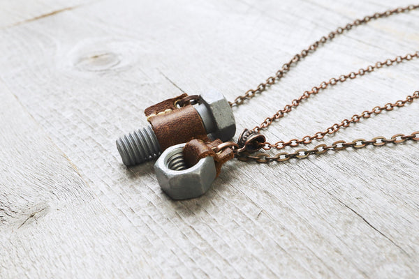 Industrial Nut Bolt Necklace - Mechanic Steampunk Thread Leather Screw Hexagonal Couple Hardware Pendant Unisex Gift for Men Women Jewelry