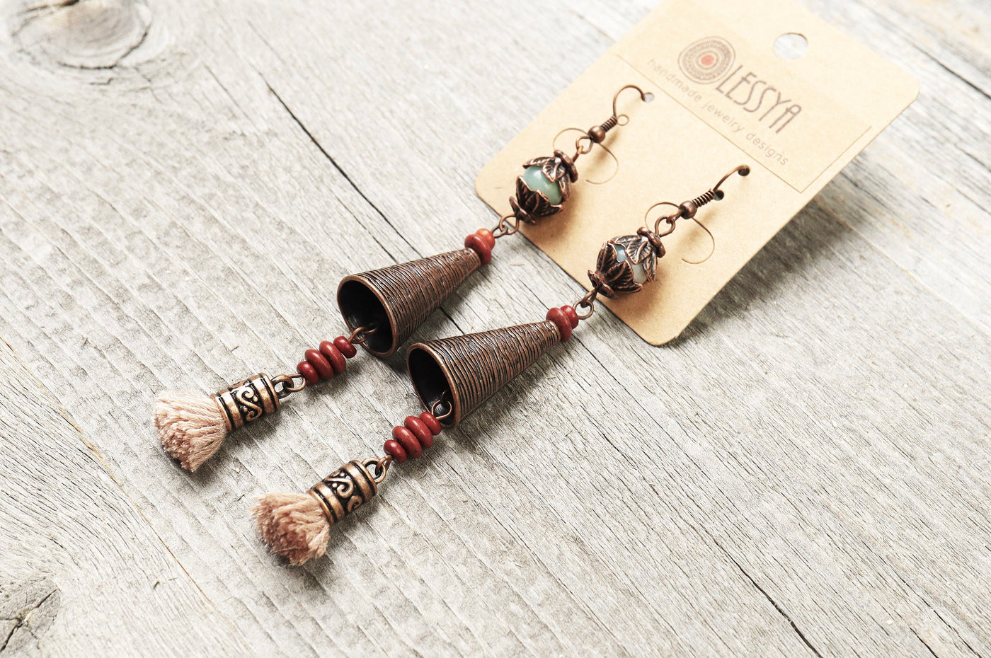 Long Bell Tassel Amazonite Earrings - Boho Cute Cone Red Blue Lovely Statement Dangle Gypsy Valentine Gift Ethnic Bohemian Handmade Jewelry