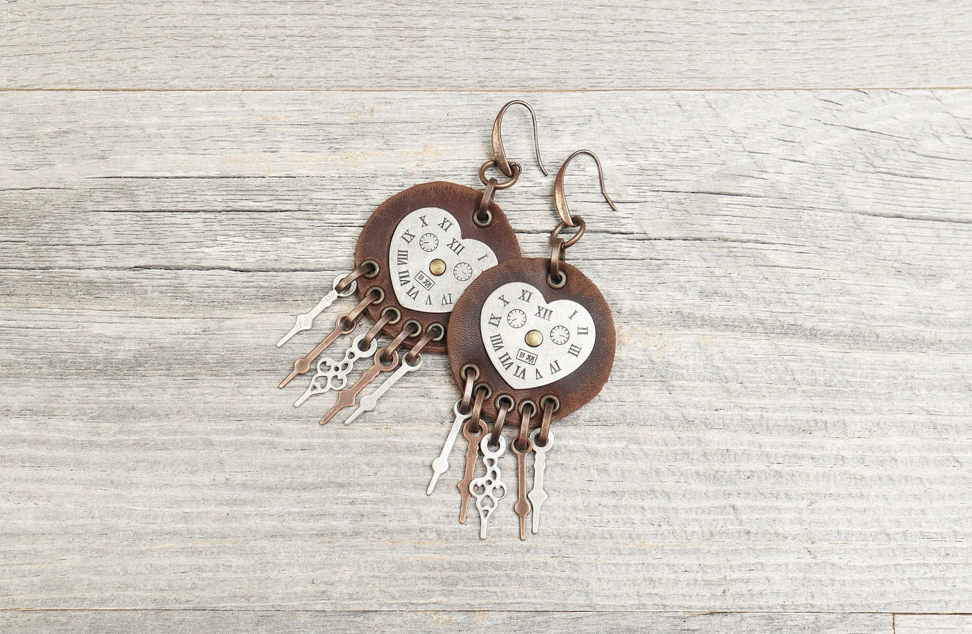 Steampunk Clock Leather Earrings -  Boho Gypsy Earthy Hippie Unique Round Big Disk Circle Watch Statement Bohemian Rustic Handmade Jewelry
