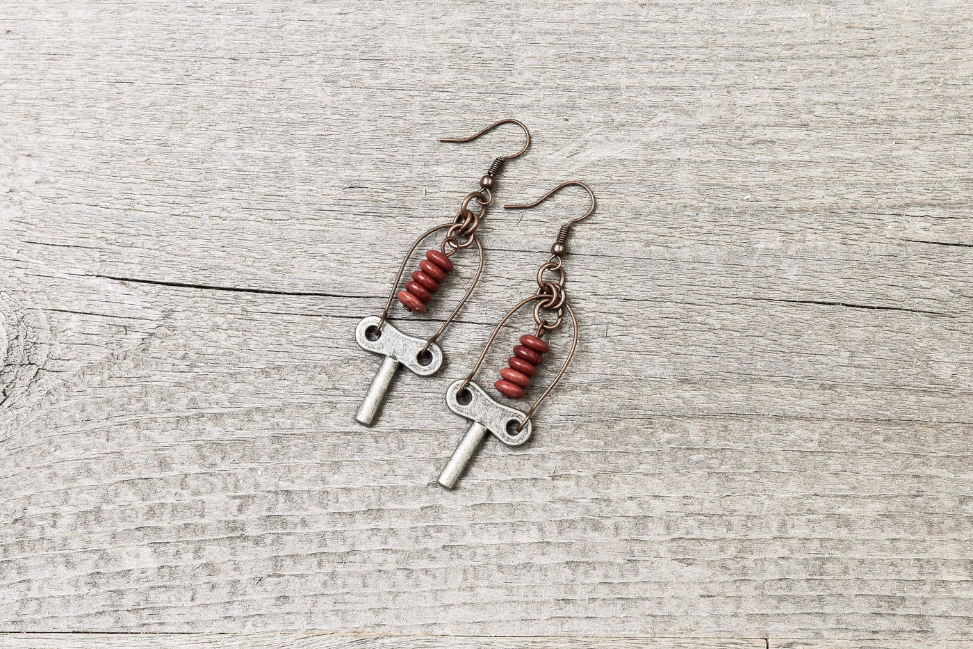 Vintage Key Boho Earrings - Earthy Red Metal Stone Dangle Cute Antique Silver Boho Gypsy Hippie Unique Bohemian Rustic Handmade Jewelry