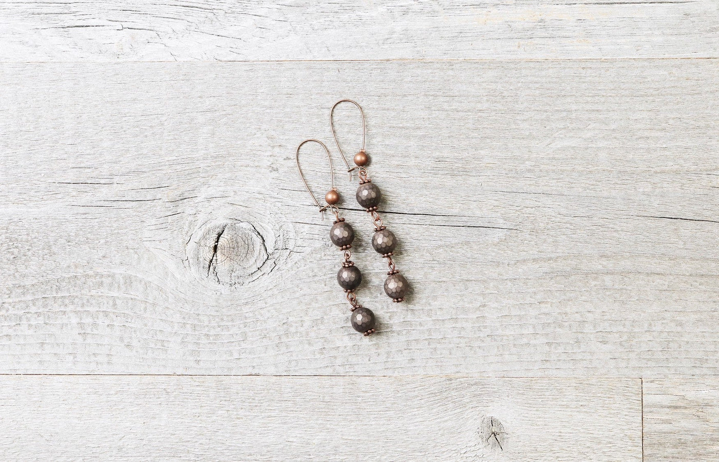 Brown Hematite Earrings - Matte Metallic Boho Statement Long Gypsy Stone Gemstone Dangle Simple Playful Bohemian Chic Necklace Jewelry Set
