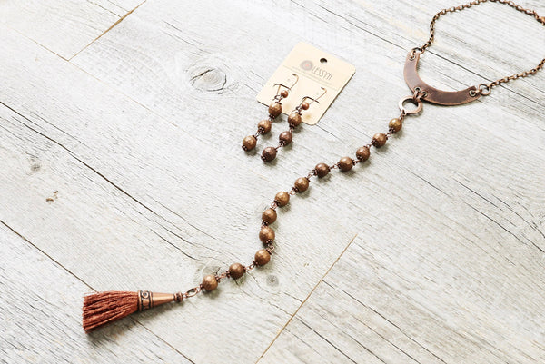 Copper Hematite Tassel Leather Necklace - Boho Statement Gypsy Stone Choker Long Matte Metallic Gemstone Bohemian Chic Unique Gift Jewelry