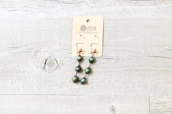 Green Blue Hematite Earrings - Boho Statement Long Gypsy Stone Gemstone Bohemian Unique Gift Original Distressed Chic Necklace Jewelry Set