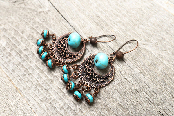 Boho Filigree Blue Stone Earrings - Turquoise Earthy Metal Dangle Antique Gypsy Vintage Hippie Statement Bohemian Rustic Handmade Jewelry