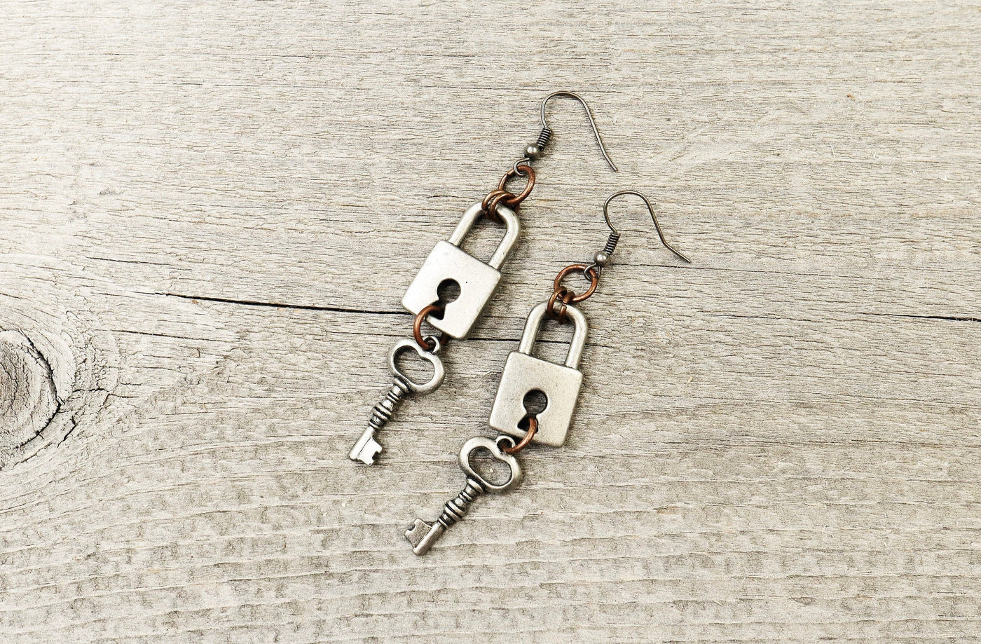 Vintage Key Lock Boho Earrings - Antique Silver Dangle Cute Lovely Metal Steampunk Gypsy Hippie Unique Bohemian Rustic Handmade Jewelry