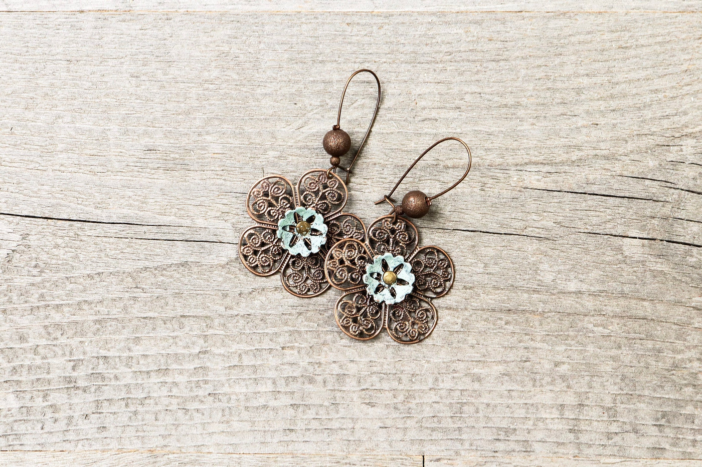 Blue Flower Patina Filigree Earrings - Antique Turquoise Light Dangle Boho Gypsy Hippie Lovely Statement Bohemian Rustic Handmade Jewelry