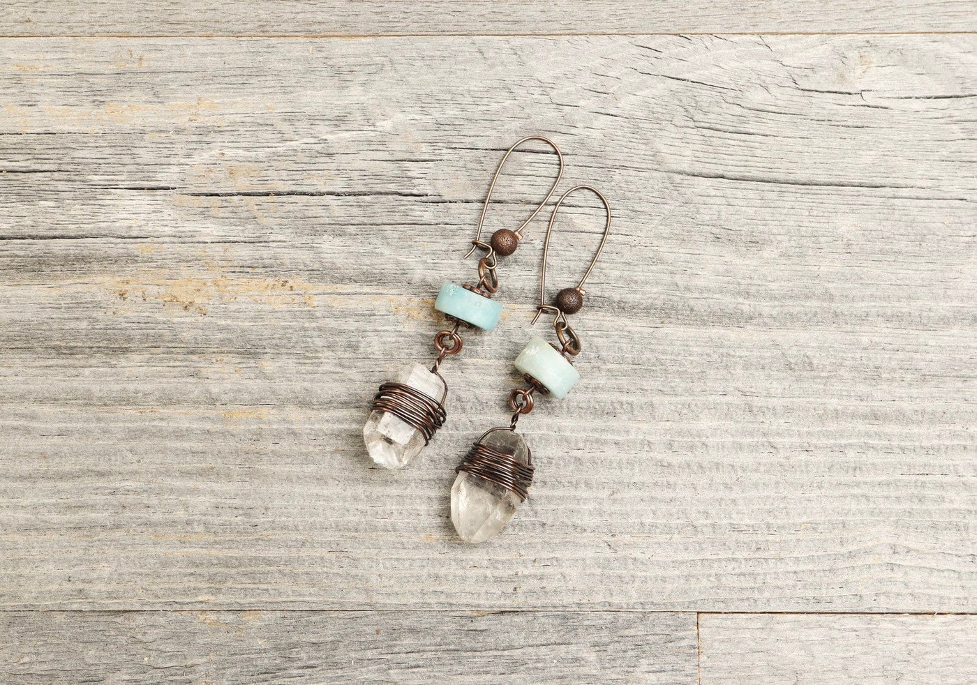Amazonite Quartz Crystal Boho Gypsy Earrings - Rustic Eclectic Simple Stone Raw Dangle Tribal Bohemian Aqua Blue Copper Wired Earthy Jewelry