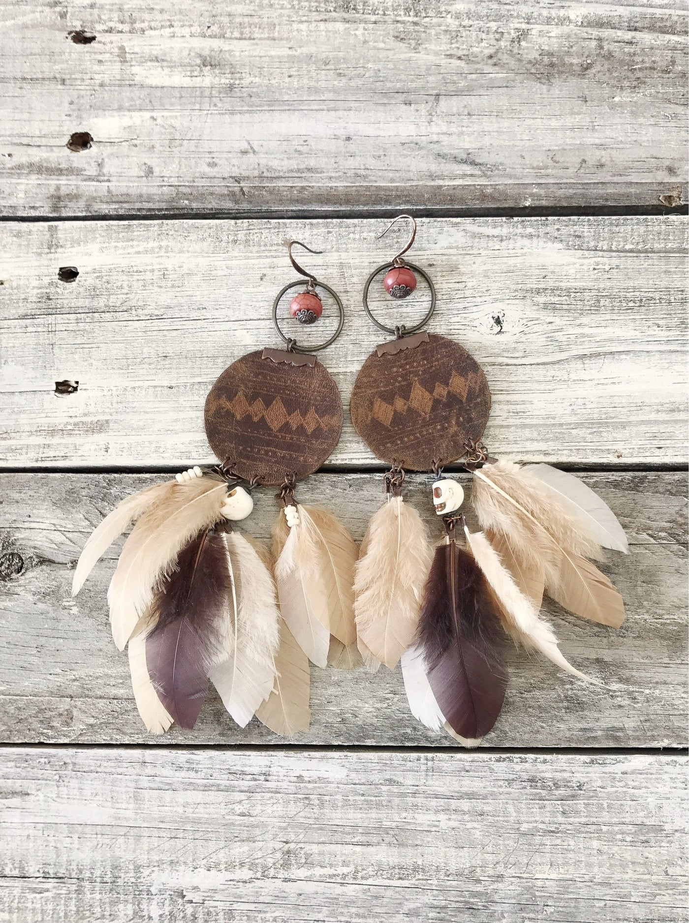 Feather Tribal Ethnic Boho Gypsy Leather Earrings