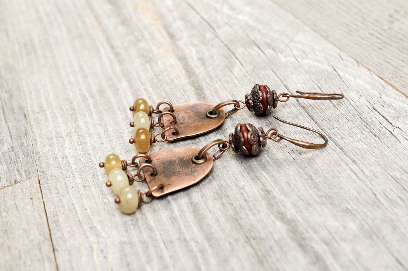 Cloudy Yellow Jade Copper Earrings - Distressed Stone Dangle Antique Boho Gypsy Big Hippie Unique Statement Bohemian Rustic Handmade Jewelry