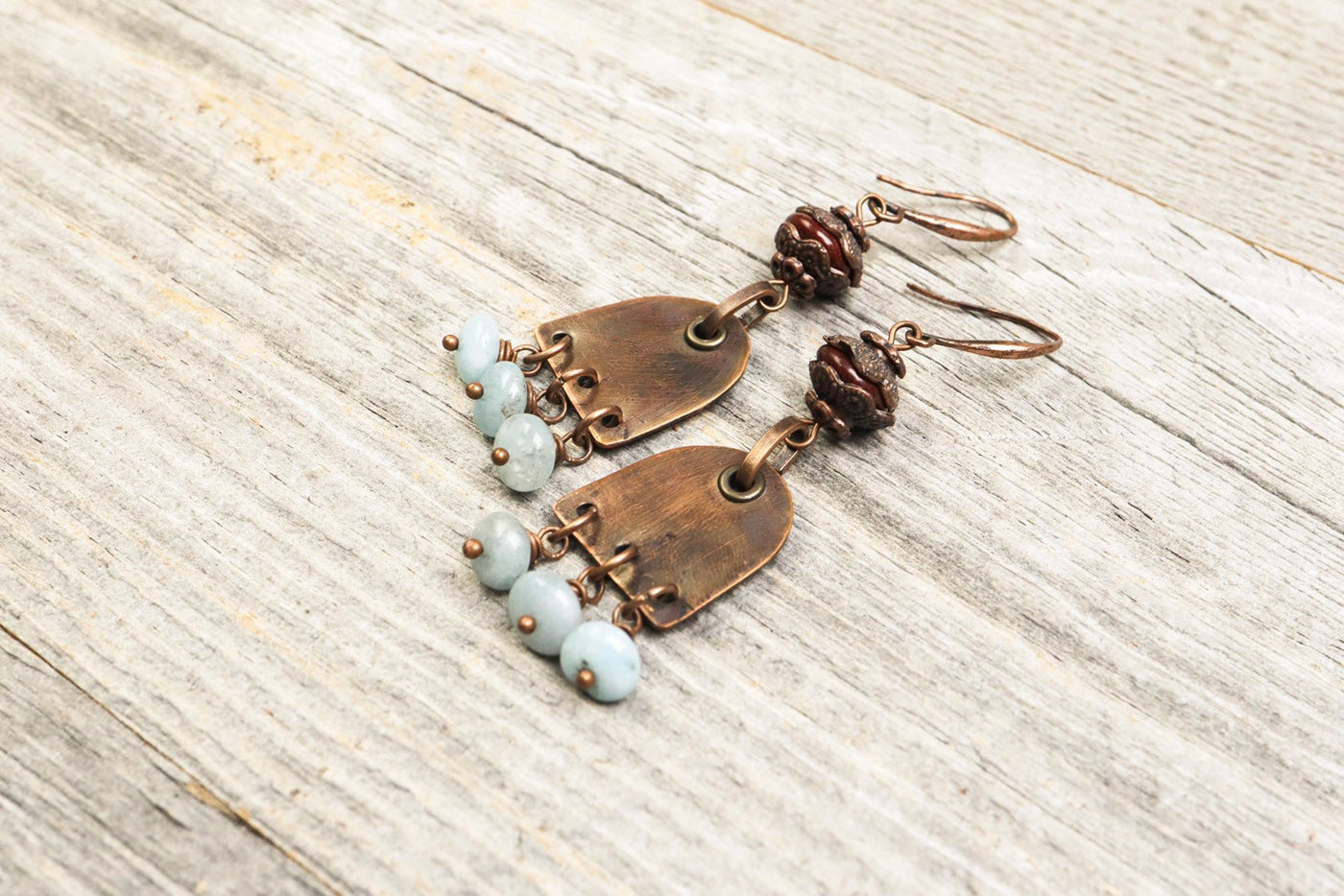 Blue Jade Copper Earrings, Distressed Earthy Metal Stone Dangle Antique Boho Gypsy Hippie Unique Statement Bohemian Rustic Handmade Jewelry
