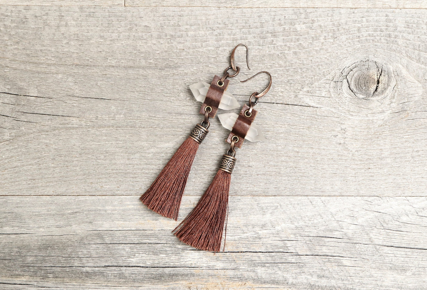 Quartz Leather Tassel Long Earrings, Crystal Spike Boho Gypsy Earthy Hippie Brown Unique Gemstone Statement Bohemian Rustic Handmade Jewelry