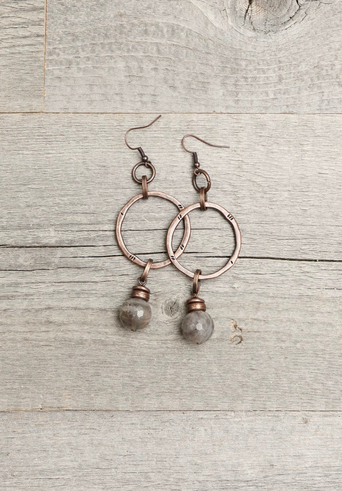 Labradorite Copper Gray Natural Stone Loop Ring Boho Gypsy Earrings - Simple Big Earthy Circle Large Metal Round Bohemian Rustic Jewelry