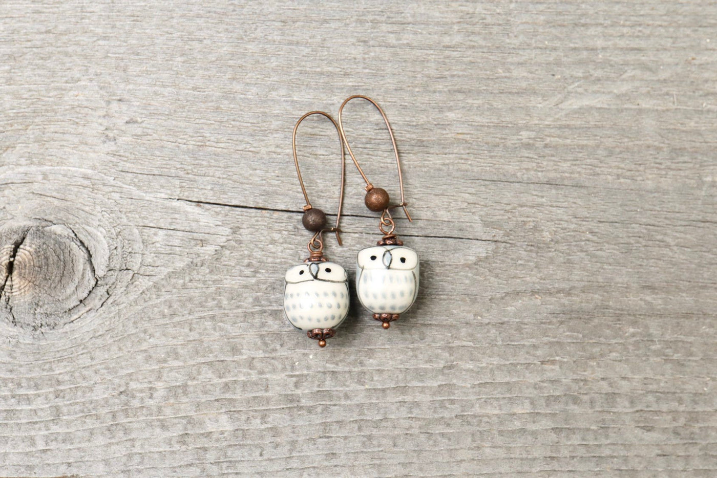 Gray Ceramic Owl Boho Earrings - Cute Bird Lovely Quirky Dangle Unique Animal Valentine's Day Adorable Simple Gift for Her Handmade Jewelry