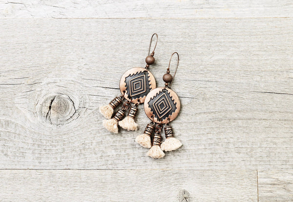 Ethnic Native American Tribal Tassel Earrings - Navajo Southwestern Indian Boho Gypsy Western Bohemian African Coin Round Statement Jewelry