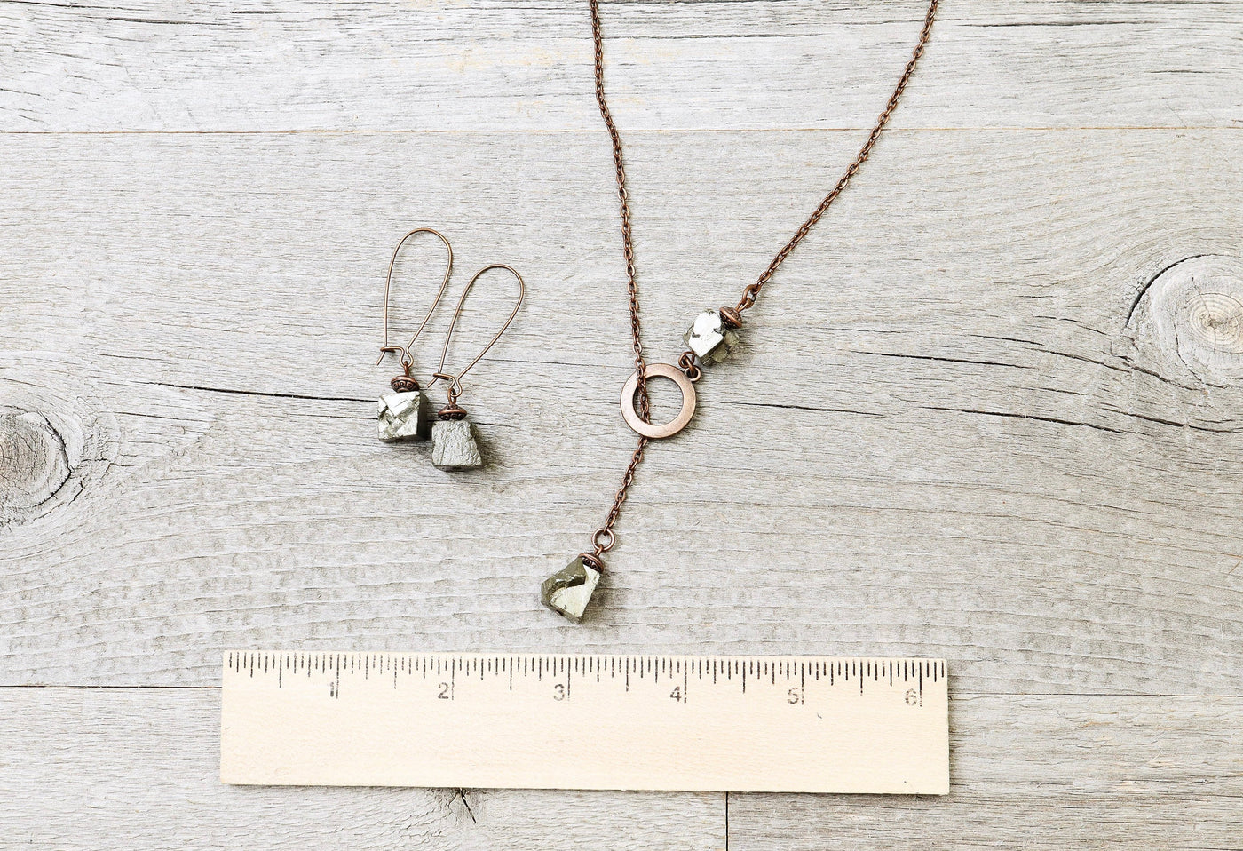 Pyrite Boho Necklace - Cute Lovely Raw Stone Valentine's Day Gift for Her Girlfriend Sister Daughter Elegant Gemstone Pendant Jewelry Set